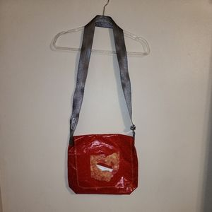 Recycled seatbelt purse ohio outline orange